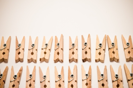 barrettes: small clothespins ordered in two rows Stock Photo
