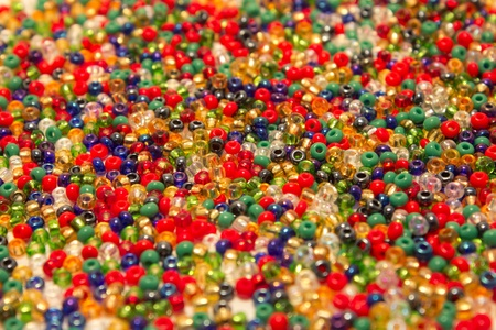 sea of red, green and blue colored beads photo