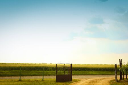 open country: open gate to a country road with fields and blue sky