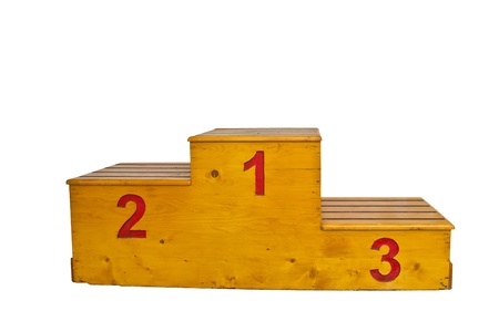 wooden podium with red numbers on a white background Stock Photo
