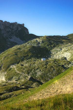refuge koca from the base of mount mangart, slovenia