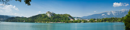 bled: view of  old church of bled, from the little town, slovenia Stock Photo