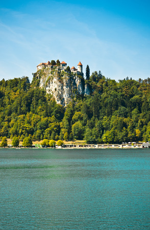 bled: view of the castle from the east shore of lake bled