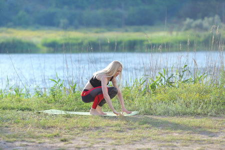 Young beautiful woman shows press stomach workout training wearing top. Blonde female long hair squats weighted arm legs exercises engaged in sports be fit, strong form green background nature park.