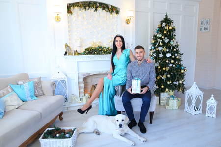 stone fireplace: Loving couple smiling sitting next to each other in chair,near dog, holding gift with blue ribbon and cuddling in light decorating studio on background of Christmas tree, white stone fireplace and white lanterns. Man dressed in checked shirt, pants dark b