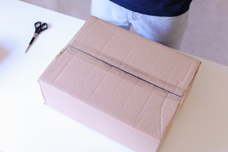 specializes: Mailman Checks Packed Boxes, Sealed With Tape on All Sides, Turns and Lays Down on Big Box Small Box, Postman Doing Job Very Well . Company Specializes in Sale of Accessories For Laptops Provides Shipping and Packing of Goods by Deliveryman, Courier in Bl