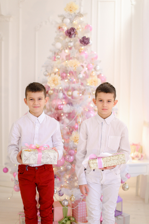 Charming children the boys stand next to each other and smile at camera with their childrens sweet smile, they are posing and holding holiday boxes with gifts in bright bedroom with Christmas tree. Guys of European appearance with short brown hair dressed Stock Photo