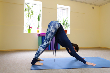 Young woman doing downward facing dog. Beautiful girl stretches back muscles. Concept of physical fitness, keep good physical form.
