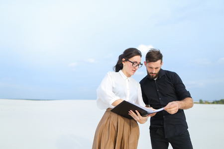 Concept of stylish clothes, homestead planning or draft of grounds. Stock Photo