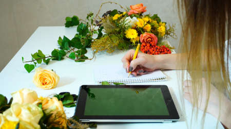 Concept of profession and favorite work, gadgets and technology, communication with customers online at computer Stock Photo