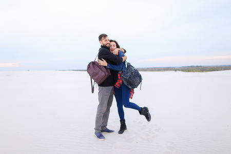 Presenters of travel program married couple planning forthcoming trip, wife and husband