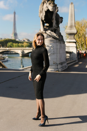Woman wearing black dress and standing near statue of lion in Eiffel Tower background, Paris. Concept of traveling to France and resting in Europe. 写真素材