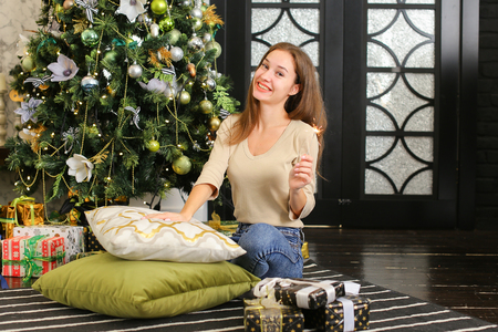 young woman holding present, economist posing for photo. Attractive female sitting near New Year tree in cozy room with comfortable sofa sincerely smiling have good mood. Concept of photoshoot, gift wrapping or holiday sales. Stock Photo