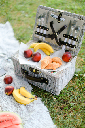 Convenient nice box for food, fruits on plaid and grass. Concept of picnic accessories and healthy food.