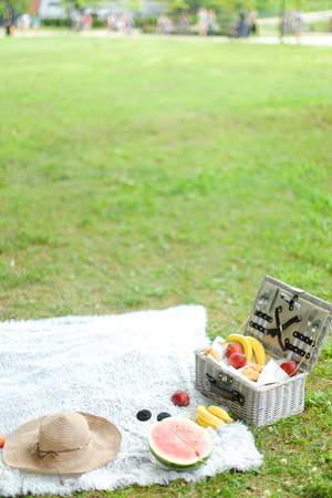 Box with fruits, hat and watermelon on plaid, grass in background. Concept of summer picnic, photo without people. Фото со стока