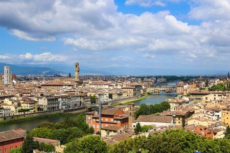 Wonderful Florense cityscape with clouds in background, Italy. Concept of pictures for postcards of european landscapes and cheap tours to Europe. 写真素材