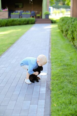 Little boy playing with black cat outdoors. Concept of childhood and pets.