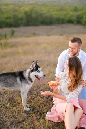 Young american woman and man sitting on grass plaid near husky and resting outside. Concept of picnic on nature and dogs.