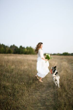 Fiancee in white dress walking in field with dog and bouquet of flowers. Concept of bridal photo session with pet dogs and nature. Banco de Imagens