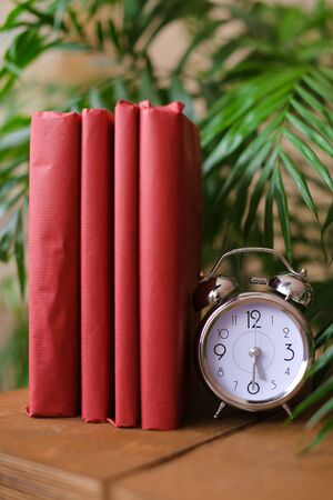 Scarlet photo albums stnding near clock and houseplant on wooden table. Concept of room decor and handmade notebooks. Zdjęcie Seryjne