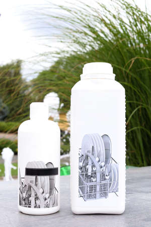 cleaning and sanitation bottles for dishes cleaning agent, bleach or fabric softener