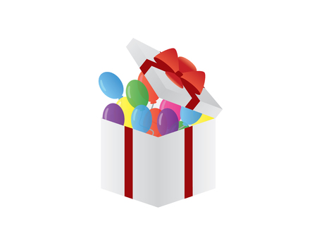 Colorful balloons in a slightly open white gift box