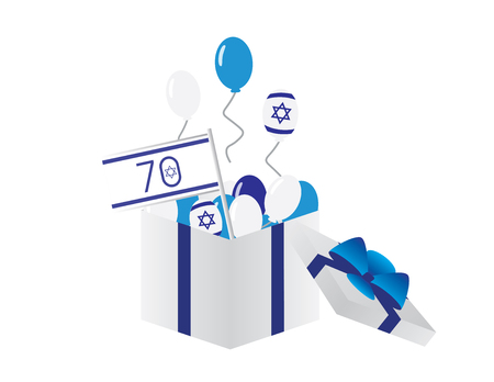 Israel 70th independence day icon - Israel flag, Blue and white balloons flying from a white box with blue ribbon. 矢量图像