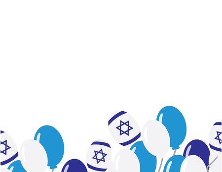 Israeli flag balloons on white background - Israel independence day background.