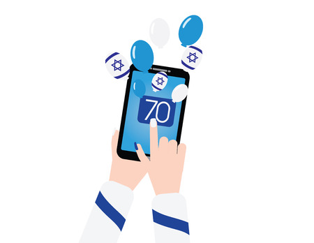 Israel 70th independence day banner with smartphon and balloons. Ilustração