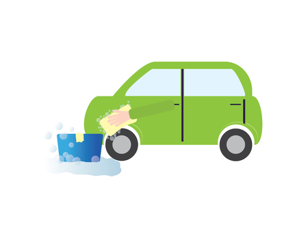 Car wash vector illustration, green car and blue bucket.