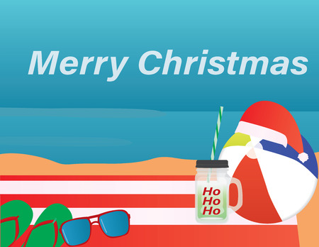 Summer Christmas background. Merry Christmas in the beach Illustration