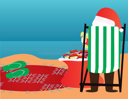 Summer Christmas background. Santa Claus in the beach