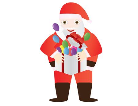 Santa claus holding gift box with balloons Illustration