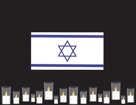 Bandiera di Giorno dei Caduti di Israele. Bandiera blu e bianca, candele commemorative. Vettoriali