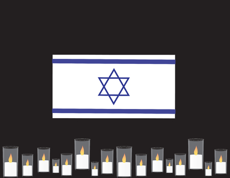 Israel memorial day banner. Blue and white flag, memorial candles.