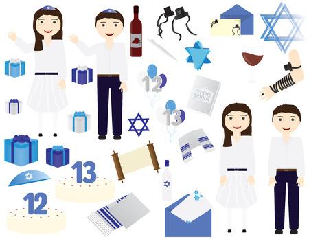 Jewish Bar mitzvah Bat mitzvah vector icons elements. Jewish girl celebrating 12th birthday,  Jewish boy celebrating 13th birthday Illustration