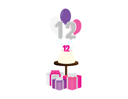 Girl 12th birthday vector illustration. birthday cake, balloons and gift box