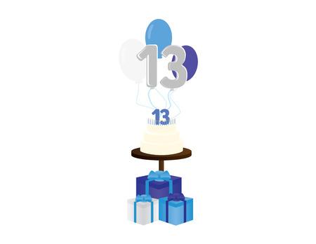 Boy 13th birthday vector illustration. Jewish Bar mitzvah party elements Vectores