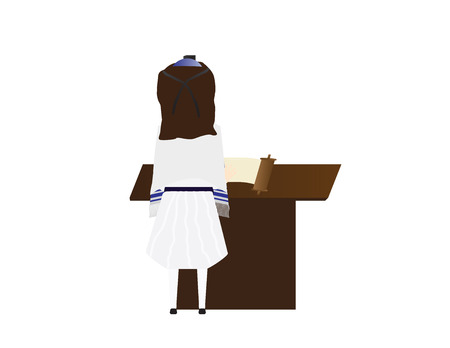 Reform Jewish girl learning for Bat mitzvah, Jewish girl with kippah and tallit reading in the torah Vektoros illusztráció