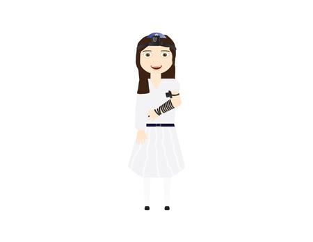 Reform Jewish girl with tefillin vector illustration. Girl celebrating Bat mitzvah, yom kippur, rosh hashanah, Jewish holidays