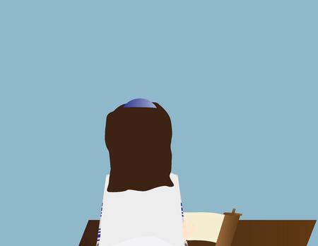 Reform Jewish girl learning torah. Jewish girl celebrating Bat mitzvah