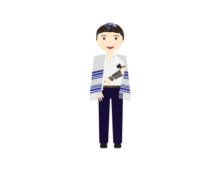 Reform Jewish boy with tefillin and tallit vector illustration. Boy celebrating Bar mitzvah, yom kippur, rosh hashanah, Jewish holidays Иллюстрация