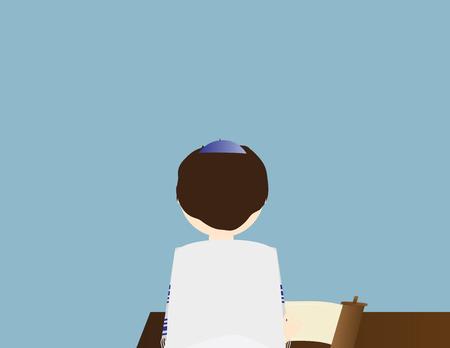 Jewish boy learning torah. Jewish boy celebrating Bar mitzvahProgressive Jew, Progressive Jewish, back, bar, birthday, boy, ceremony, hebrew, icon, illustration, isolated, israel, jew, jewish, judaism, kiddush, kippah, man, pray, prayer, reform judaism, religion, ritual, rosh hashana, rosh hashanah, saturday, scroll, shabbat, siddur, simchat, star of david, synagogue, tallit, teen, tefillin, torah, tradition, vector, white, yamaka, yom kippur