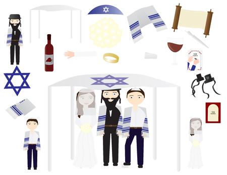 Jewish wedding vector icon illustrations Vectores
