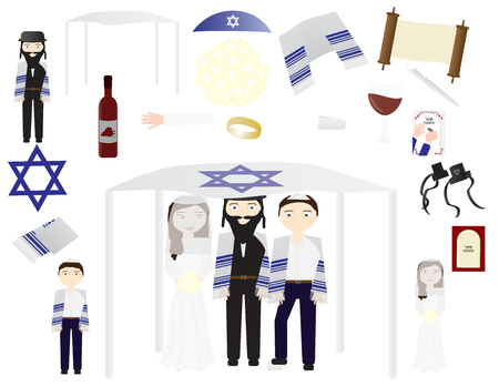 Jewish wedding vector icon illustrations Ilustração