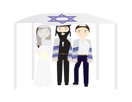 Jewish wedding vector illustration, Bride, groom and a rabbi under a chuppah Vectores