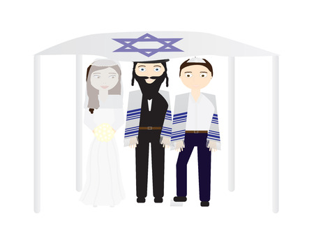 Jewish wedding vector illustration, Bride, groom and a rabbi under a chuppah Illustration