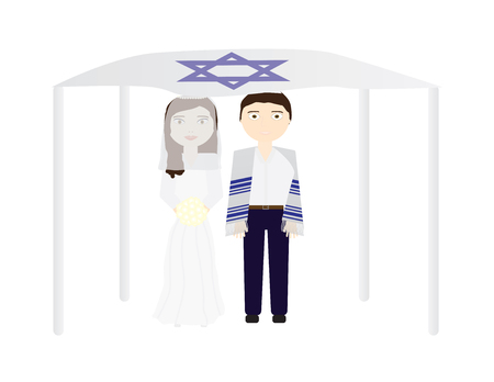 Jewish wedding vector illustration, Bride and groom under a chuppah