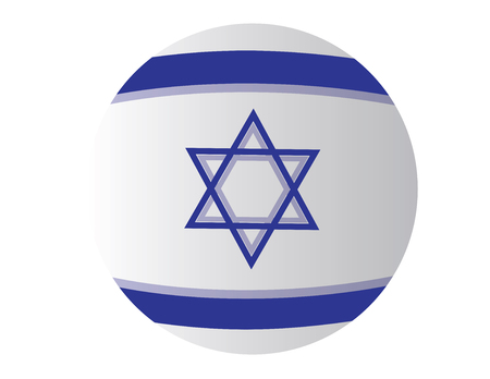 Israel flag inflatable ball. round vector design for israel blue and white flag Vettoriali
