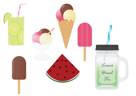 Summer food and drinks Stock Illustratie